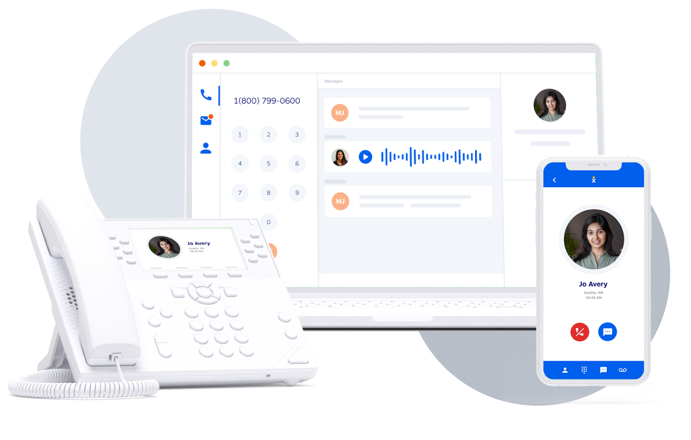 Nextiva Cloud Call Center on a laptop, mobile, and desk phone